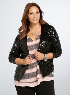 Plus Size Sequin Open Front Jacket