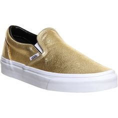 Vans Classic Slip On Shoes ($39) ❤ liked on Polyvore featuring shoes, trainers, gold metallic, unisex sports, white leather sneakers, white slip on shoes, white boat shoes, slip on sneakers and boat shoes