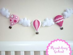 Aire caliente globo Garland - banderines - Banner - rosa chicle, blanco como la nieve y Hot Pink - movible