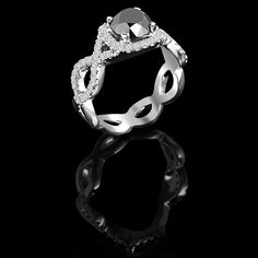 Classy and elegant design with 61 round cut stones. Something do last forever. Black Diamond Wedding Rings, Black Diamond Necklace, Diamond Jewellery, Diamond Rings, Ring Engagement, Diamonds, Stones, Gems, Classy