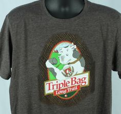 Long Trail Brewing Co Mens L TShirt Triple Bag Beer Cow Large #LongTrailBrewingCo #GraphicTee