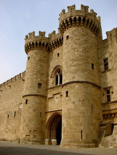 Palace of The Grand Masters, Rhodes, Greece - the main entrance..The palace was built by the Knights of St John of Jerusalem on the site of the 7th century Byzantine fortress...