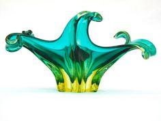 Murano sommerso free flowing freeform glass dish poss. by Flavio Poli for Seguso Vetri d'Arte, Venice, Italy 1950s
