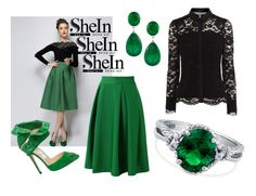 """#Green #Plaid #Skirt #Shein"" by gorgeousclothes ❤ liked on Polyvore featuring Chicwish, Jimmy Choo, Coast and BERRICLE"
