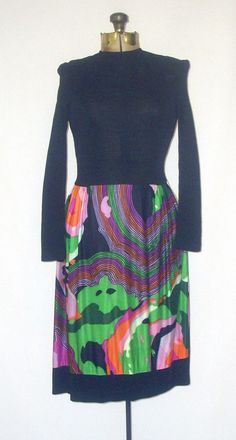 Mod Op Art Nylon 1970's Dress Peter Max Style by SoleilVintageShop