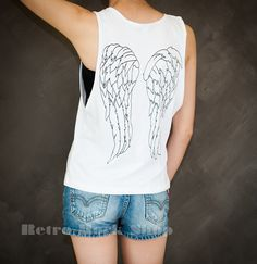 Daryl Dixon Wings The Walking Dead Crossbow Sexy Sideboob Tank Top Low Cut Cropped Shirt Choice of Size S M L