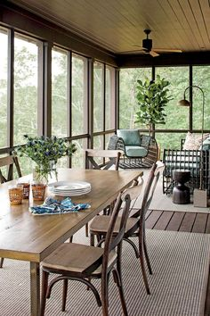 Read our Tips For Your DIY Screened-In-Porch For Summer Friendly, Build a Screened In Porch or Patio, Amazingly cozy and relaxing screened porch design ideas and How to Build a Screened In Patio. House Design, Home, House With Porch, Lake Cottage, Porch Design, Lake House, Screened Porch Designs, Sunroom Designs, Southern Living House Plans