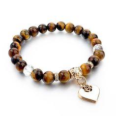 Heart Charm Bracelets Bangles White Natural Stone Bracelet