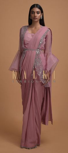 Buy Online from the link below. We ship worldwide (Free Shipping over US$100)  Click Anywhere to Tag Thulian Pink Ready Pleated Saree Topped With Organza Jacket Having Bell Sleeves Online - Kalki Fashion Thulian pink ready pleated saree in georgette with cut dana and coin tassel embellished zigzag cut border.Paired with a matching sleeveless blouse in raw silk with scoop neckline.