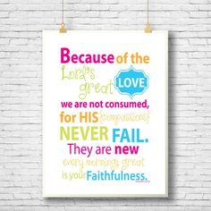 Scripture Art Bible Verse Printable Because of the by glorydesigns