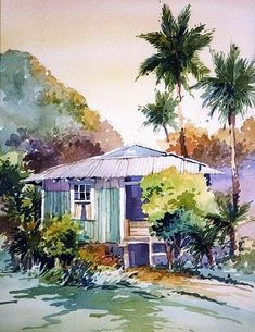 Southern Watercolor Artists | Tropical and Southern California Watercolor Surf Art - Bill Drysdale ... #watercolorarts