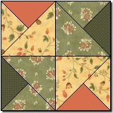 Southern belle free quilt block pattern. Love these colors.. I think a table runner posted on pinterest is basically this pattern.