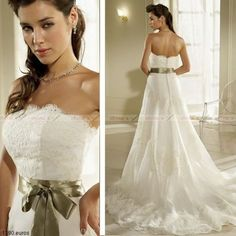 2013 New with Sash Strapless Sleeveless A Line Lace Wedding Dresses Custom Size | eBay