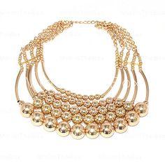 [EUR € 9.01]  - Chapado en oro de la aleación de varias hileras de bolas collar conectado