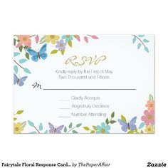 "Fairytale Floral Response Card 3.5"" x 5"""