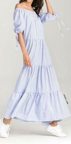 Vertical Striped Off Shoulder Tie Cuff Dress