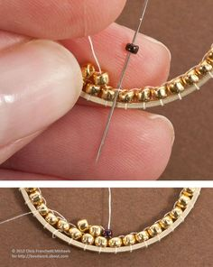 Inside Brick Stitch Hoop Earrings Tutorial: How to Stitch Beads to the Insides of Metal Hoops With Brick Stitch. By Chris Franchetti Michaels