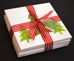 folkart multi-surface paints stenciled holiday coasters