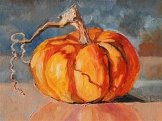 """Daily Paintworks - """"One Small Pumpkin"""" - Original Fine Art for Sale - © Carlene Dingman Atwater Watercolor Fruit, Fruit Painting, Autumn Painting, Autumn Art, Watercolor Paintings, Acrylic Paintings, Pumpkin Painting, Acrylic Art, Watercolors"""