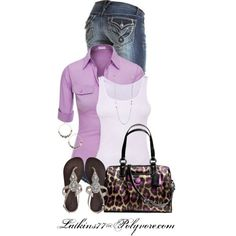 Doublju Women's 3/4 Sleeve Button Down Shirt with Pocket