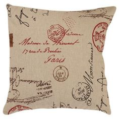 Pillow Perfect Decorative Linen/ Red French Laundry Square Toss Pillow…