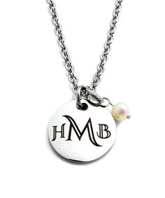 This Pearl & Stainless Steel Monogram Pendant Necklace is perfect! #zulilyfinds