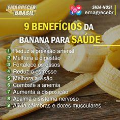 Quem ai gosta de banana? 😋  Bem, essa fruta rica em fibras e potássio, é uma poderosa aliada para quem pratica atividades intensas, que exigem muito do sistema cardiovascular, como corridas e musculação. 💪  Se você tem câimbras regulares, experimente inclui-la diariamente. 😉