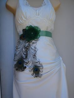Peacock Wedding Bridal Sash or Belt Peacock and Flower by Axentz, $56.99
