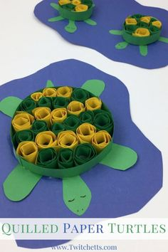Create adorable turtle crafts with this paper quilling technique for kids. This construction paper turtle is ready for your under the sea fun! #turtle #constructionpaper #quilling #papercraft #easycraftsforkids #twitchetts