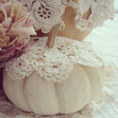 pumpkins and doilies