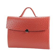 Almini Milano,Time Ostrich Satchel Red, recycled leather