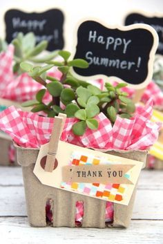Succulent Berry Basket Gift Idea (Smashed Peas and Carrots) May Day Baskets, Gift Baskets, Raffle Baskets, Teacher Appreciation Gifts, Teacher Gifts, Secret Sister Gifts, Secret Pal, Berry Baskets, Succulent Gifts