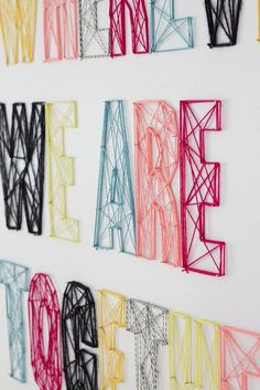 Do-it-Yourself string wall art! Never thought of doing it straight on the wallDo-it-Yourself string wall art! Never thought of doing it straight on the wall String Wall Art, Yarn Wall Art, Diy Wall Art, String Letters, Yarn Letters, Diy Letters, Wall Letters Decor, String Art Names, Letters Decoration