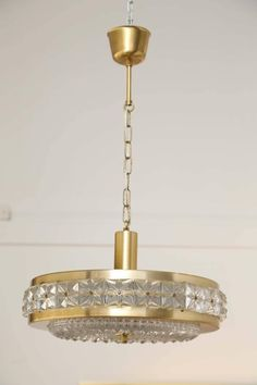 Carl Fagerlund Brass and Crystal Pendant for Orrefors Mid 20th Century 2