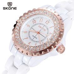 Skone 1242 Female Japan Quartz Watch Diamond Round Dial Ceramic Watchband, GOLDEN in Women's Watches | DressLily.com