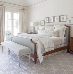 House of Turquoise: Collins Interiores Ivory Bedroom, Girls Bedroom, Blue Gray Bedroom, Bedroom Retreat, Home Bedroom, Master Bedroom, Bedroom Decor, Bedroom Wall, Master Suite