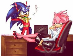 Zonic: Zonic, reporting for duty Miss Rose! Amy: really zonic, must you be so serious? Sonic Y Amy, Sonic Boom, Amy Rose, Sonic The Hedgehog, Sonamy Comic, Sonic Funny, Sonic Franchise, Sonic Fan Characters, Sonic Fan Art