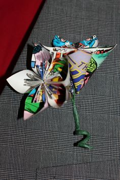 Comic Book Paper Flower Wedding Boutonniere: Because I'm not marrying anyone less than a total nerd.