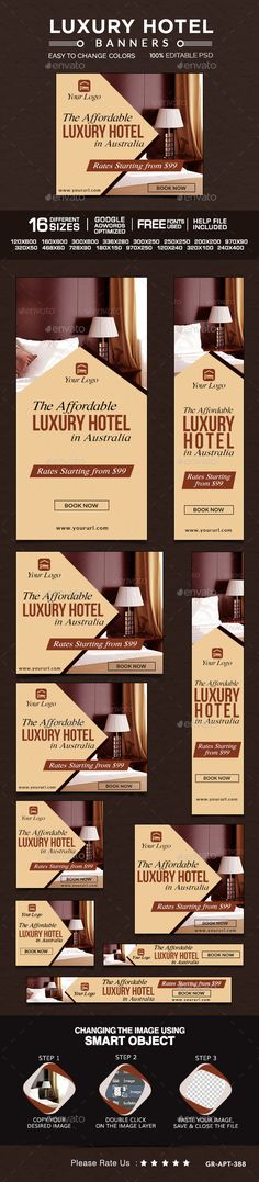 Buy Hotel Banners by Hyov on GraphicRiver. Promote your Products and services related to hotels niche with this great looking Banner Set. Hotel Ads, Hotel Logo, Ad Design, Flyer Design, Web Banner Design, Web Banners, Rollup Banner, Travel Ads, Banner Template