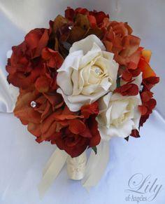 17pcs Wedding Bridal Bouquet Set Silk Flower Fall Orange Brown Ivory Cinnamon | eBay