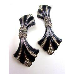Black Art Deco BIJOUX DESIGNS Earrings, Rhinestones Enamel,... ($29) ❤ liked on Polyvore featuring jewelry, earrings, vintage enamel earrings, enamel jewelry, deco earrings, rhinestone earrings and vintage art deco jewelry
