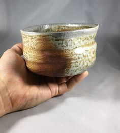 Matcha chawan Japanese teabowl woodfired with by ofthedirtpottery