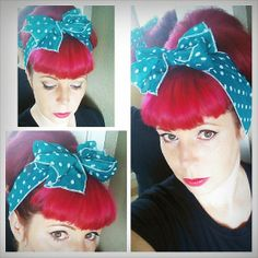 Teal Green with White Polka Dots Vintage Style Hair Scarf Headwrap Hair Bow 1940s 1950s Rockabilly - Pin Up - For Women, Teens