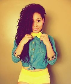 I love the yellow as a pop of color! And she is gorgeous