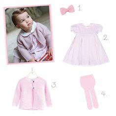 Peças inspiradas no look da Princesa Charlotte - vestido,  cardigan e lacinho rosa