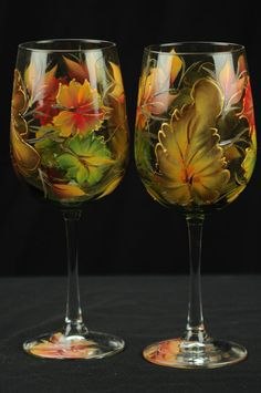 Set of Two Hand Painted Large Wine Glasses / Fall by ArteeVita