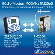 Como comunicar CLPs via rádio. Utilize rádios spread spectrum em 900 MHz para insterligar CLPs a até 32 km com visada. www.alfacomp.ind.br