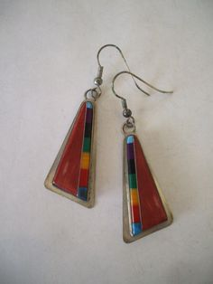 Signed Vintage NAVAJO Sterling Silver & Multi-Stone Inlay EARRINGS Colorful.  TurquoiseKachina, $116.10