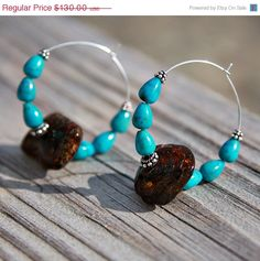 SUMMER SALE Raw Baltic Amber and Turquoise Organic by rocksnbeads