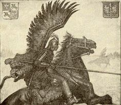 Polish Winged Hussar by W.T. Benda, for World War I recruiting poster. The winged Hussars would have been very intimidating on the field.